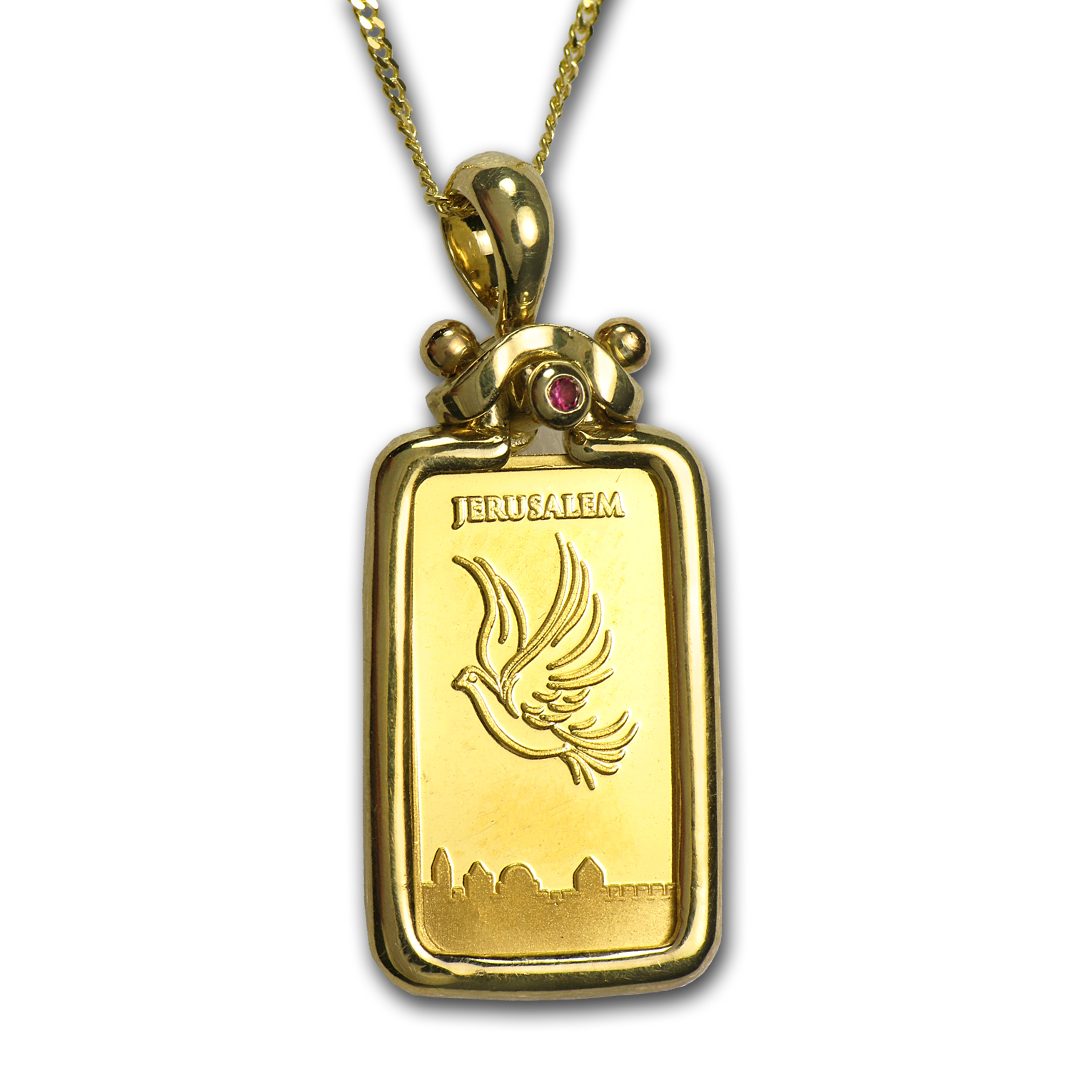 1 Gram Gold Bar Dove of Peace Pendant w/ Chain (AGW .0939 oz)